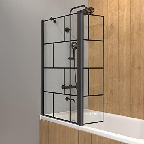 Mampara para bañera con persiana giratoria – perfil negro mate – 130 x 104 cm (alto x ancho) – Cristal de 5 mm serigrafiado