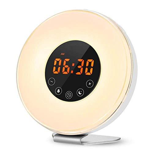HYY-YY Wakker Licht Alarm Klok Zonsopgang/Zonsondergang Simulatie Digitale Klok Met Fm Radio 7 Kleuren Licht Geluiden Functie Touch Control