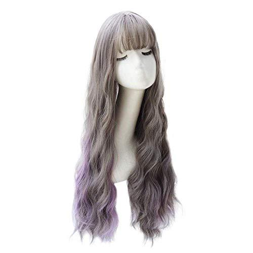 Hairpieces Wig Female Long Curly Hair Wavy Big Wave Hair Set Air Bangs Long Hair Sweet Cute Long Curly Hair