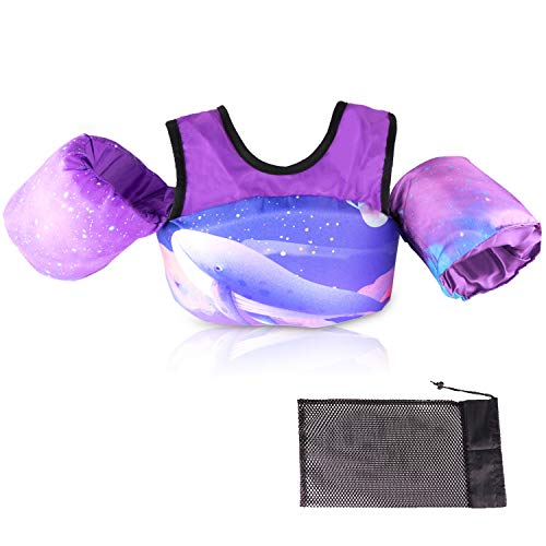 Kids Pool Floats, Swim Vest, Foldable Swim Vest Jacket with Storage Bag, Suitable for Children Aged 2, 3, 4, 5, 6, and 7 to Learn to Swim and Train