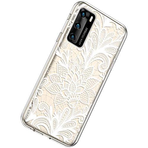 Herbests Kompatibel mit Huawei P40 Hülle Silikon Weich TPU Handyhülle Durchsichtige Schutzhülle Niedlich Muster Transparent Ultradünn Kristall Klar Handyhülle,Weiße Rose