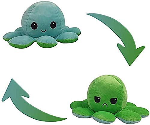 Reversible Octopus Plushie Stuffed Animal Mood Plush Double-Sided Flip - Show Your Mood Without Saying a Word! - Blue to Green