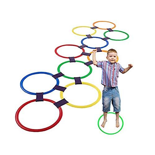 XWSD Hopscotch Ring Game Toys Anillos de plástico, suaves, irrompibles, giratorios, una variedad de combinaciones, para hacer ejercicio de la función de coordinación de las extremidades de los niños