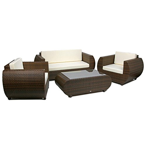 Rattan4Life Ibiza Rattan braun/Creme Polyrattan Gartenmoebel Sitzgruppe Lounge Moebel Set Tisch Gartentisch Sessel Sofa Stuhl Kissen Balkon Garten