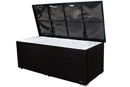 OUTFLEXX praktische Kissenbox aus widerstandsfähigem Poly-Rattan in schwarz mit Gasdruckfedern und Innenbezug, 204 x 94 x 75 cm, Gartentruhe Universalbox Aufbewahrungsbox Kissentruhe, wetterfest