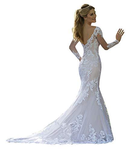 CGown Damen Rundhalsausschnitt Spitze Meerjungfrau Hochzeitskleider für Braut mit langen Ärmeln Zug Tüll Applikation Brautkleid Gr. 38, weiß