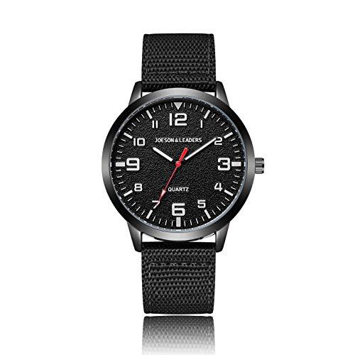 JOESON LEADERS Armbanduhr, 3ATM Wasserdicht Outdoor Unisex Uhren Casual Quarz Sport Armbanduhr mit Nylon/Leder Armband, Schwarz, Armband