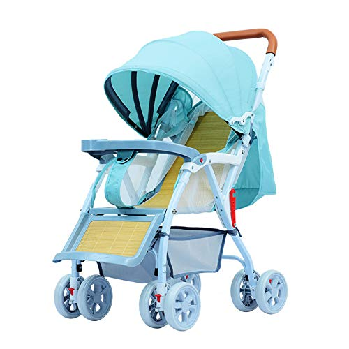 SUN JUNWEI Pushchairs And Strollers,Bamboo Wicker Rattan Mat Baby Stroller Can Sit And Lie on Four Wheels 360° Rotating Spring Shock Absorber Baby Stroller,Green