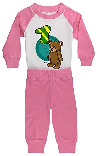 HARIZ HARIZ Baby Pyjama Kuschliger Bär 1 Geburtstag Geschenkidee Plus Geschenkkarte Pink/Fuchsia 6-12 Monate