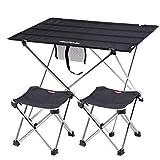 Freetrekker Mesa de camping plegable con 2 sillas de camping plegables, ligeras, con bolsa de transporte, para senderismo, playa, pesca, camping, jardín, muebles de camping (negro, mediano)