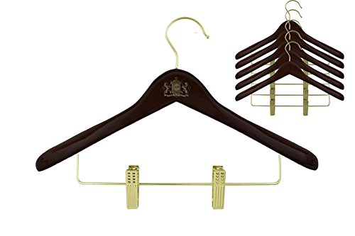GOODYEZZ Wooden Suit Hanger with 2 Anti-Rust Adjustable Clips for Pants Skirt | Polish Walnut Finish Closet Organizer (6)