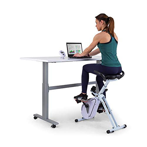 Capital Sports Azura Desk Bike Heimtrainer, X-Bike / Cardiotrainer / Cardio-Bike / Homeoffice, Schwungmasse: 7,5 kg, MagResist: Magnetwiderstand (8 Stufen), komfortable Sitzgriffe, Tischkonsole, weiß
