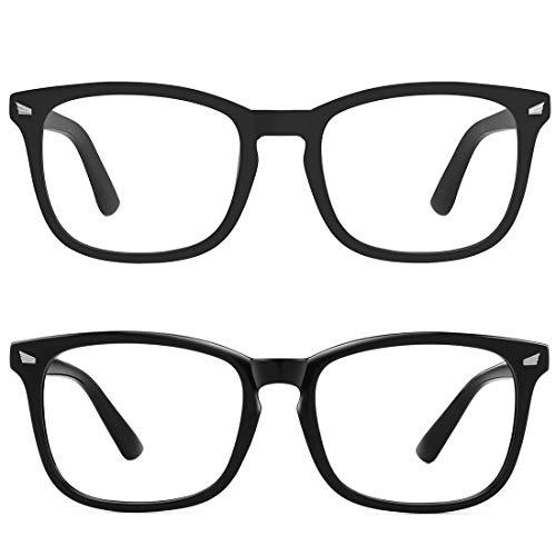MEETSUN Blue Light Blocking Glasses, Anti Eye Strain Headache (Sleep Better),Computer Reading Glasses UV400 Transparent Lens (Matte Black Frame + Glossy Black Frame / 2 Pack, 53)