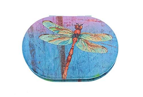 Value Arts Miroir de voyage compact avec grossissement Motif libellule 7,6 cm