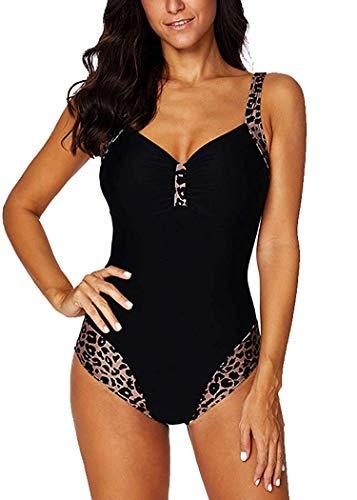 Leslady Bañador para Mujer Una Pieza Leopardo Cuello en V Traje de baño de una Pieza con Formas del Cuerpo Cintura Tankini Traje de baño de Gran tamaño S-5XL