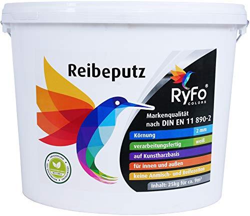 RyFo Colors Reibeputz 2mm 25kg - Fassadenputz, Oberputz, Edelputz, Strukturputz, Fertigputz weiß für innen und außen, witterungsbeständig, weitere Körnungen und Optiken wählbar