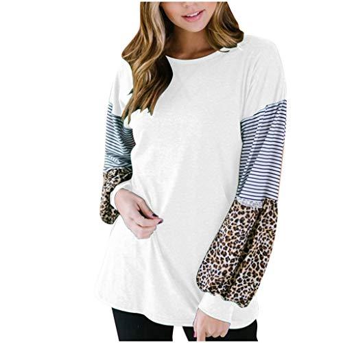 TEELONG - Camiseta suelta casual para mujer, manga larga, cuello redondo, túnica de moda, estampado de leopardo, con estampado de rayas Blanco blanco XL
