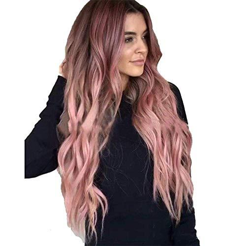 Perruque Sub-Brown Gradient Light Powder Haute Température Soie Cheveux Longs Bouclés Big Wave Cheveux Synthétiques Perruques Complètes