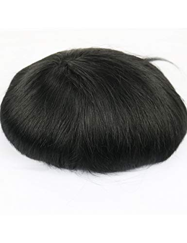 JKDKK perruques Thin Skin Toupee Men Real Human Hair Pieces Natural Hairline Virgin Hair Replacement System , 8X10,1# Wave