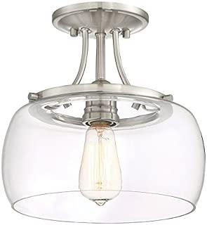 Quoizel Soho 10.62-in W Brushed nickel Clear Glass Semi-Flush Mount Light