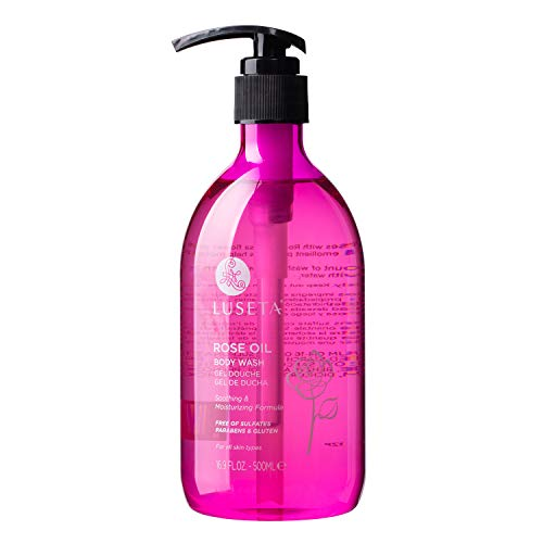Luseta Rose Oil Body Wash for Dry Skin Women 16.9oz, Women Body Wash Smell Good Hydrating Shower Gel for Nourishing Essential Body Care, Sulfate & Paraben Free