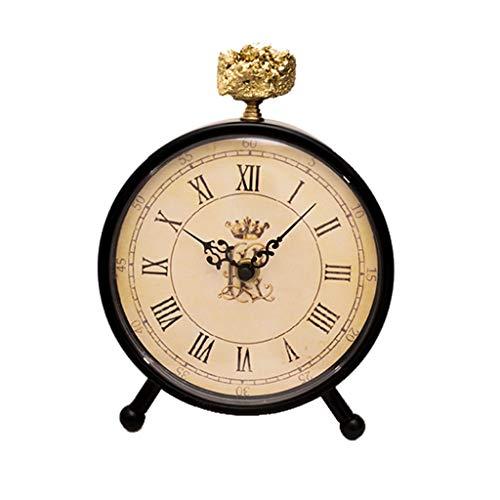 hongbanlemp Reloj Sobremesa 7 Pulgadas Retro Moda Creativa casa Sala de Estar silenciosa Cristal Piedra Reloj Reloj precisos Minutos y Segundos (Negro) Escritorio Reloj