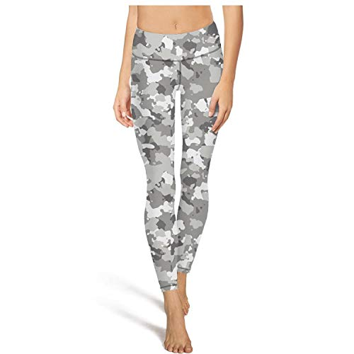 Medssii Lady Camouflage Gray White Yoga Pants Tummy Hips Yoga Leggings with Pockets