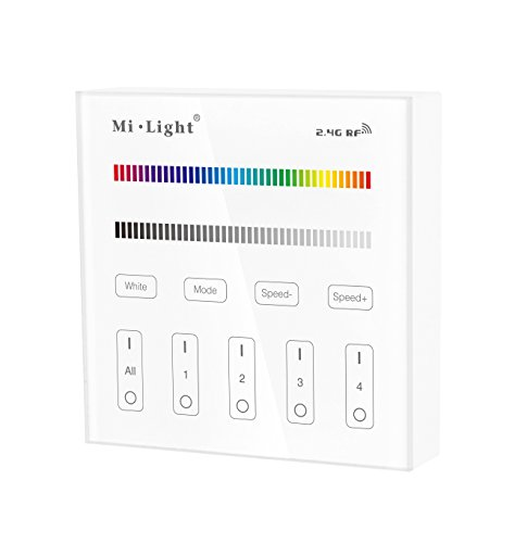 LIGHTEU®, Wireless 2.4G RF 4 Zonen RGBW Smart Touchscreen Controller für die Wandmontage AC 90-120 V Nur mit LED-Leuchten der Mi-Light RGBW-Serie, T3
