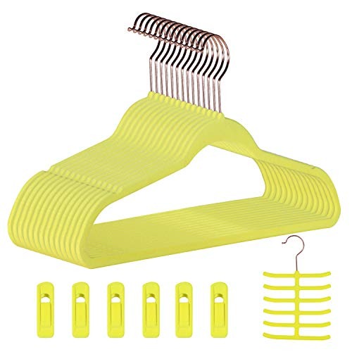 Dantly Premium Velvet Suit Heavy Duty-Non Slip Space-Saving Clothes Hangers with 6 Finger Clips and Tie Rack for Men and Women 30 Pack Yellow