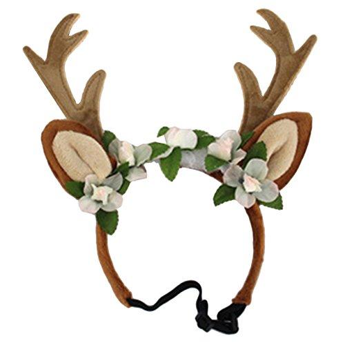 THEE Haustier Weihnachtskostüm Kopfschmuck Haarband Weihnachts Elch Geweih Haarreif Weihnachtsmütze Kostüm für Hund Katze