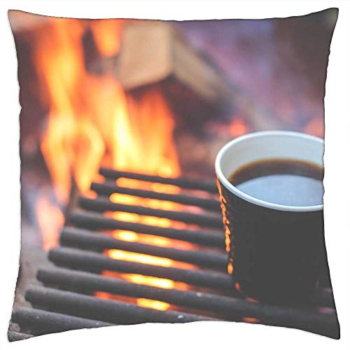 LESGAULEST Throw Pillow Cover (24x24 inch) - Coffee Grill Fire Heating Up Breakfast Camping