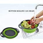 Kitchen Collapsible Colander Set of 3, HJYuan Silicone Colander Strainer Over the Sink Food Folding Water Filter Basket… 12 【 Foldable and Space Saving Design】Ergonomic, space-saving design. Strainers are foldable, so they do not take up much room in your kitchen cupboards. 【Safe and Comfortable】Using environmentally friendly Rubber and plastics materials,no smell.And it is very soft and comfortable. Closed home partner for life. 【Easy to Use】This round colander used for draining most foods like spaghetti, pasta, potatoes, broccoli, green beans, carrots, spinach and other veggies, to rinse your salad leafs, fruits and fresh vegetables.