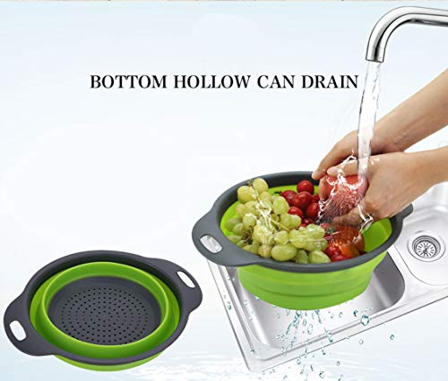 Kitchen Collapsible Colander Set of 3, HJYuan Silicone Colander Strainer Over the Sink Food Folding Water Filter Basket… 4 【 Foldable and Space Saving Design】Ergonomic, space-saving design. Strainers are foldable, so they do not take up much room in your kitchen cupboards. 【Safe and Comfortable】Using environmentally friendly Rubber and plastics materials,no smell.And it is very soft and comfortable. Closed home partner for life. 【Easy to Use】This round colander used for draining most foods like spaghetti, pasta, potatoes, broccoli, green beans, carrots, spinach and other veggies, to rinse your salad leafs, fruits and fresh vegetables.