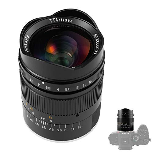 TTArtisan Obiettivo F1.5 Full Fame, 21 mm, compatibile con fotocamere Sony con innesto E come Sony A7 A7ll A7R A7RlV A7S A7SII A7SIII A9 A5000 A6400 A6 (compatibile con Sony E)
