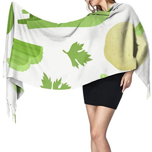 Yushg Grüne organische kreative Sellerie Gemüse farbige Schals für Frauen Schal Wrap für Frauen Kaschmir großer Schal 77x27inch / 196x68cm große weiche Pashmina extra warm