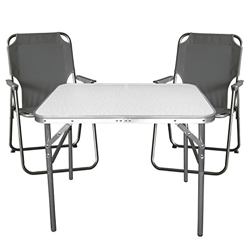 Wohaga Balkonmöbel Campingmöbel Set 3tlg. Aluminium Klapptisch 55x75cm + 2X Campingstuhl, Stone - Sitzgruppe Campinggarnitur Gartenmöbel