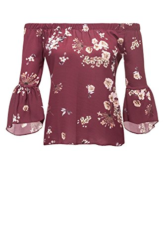 Hailys Damen Off Shoulder Bluse Carmenbluse 3/4 Arm Wine/Print 2 L