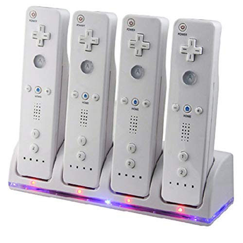 SANON 4 IN 1 Wii, Gamepad Controller Opladen dock 4 in 1 met 4 Oplaadbare Batterijen en LED-indicatoren