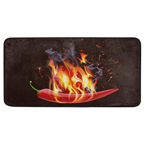 AGONA Anti Fatigue Kitchen Mat Creative Burning Chili Pepper Kitchen Floor Mat Soft Standing Mats Absorbent Area Rugs Non Slip Kitchen Rugs Bath Rug Runner Carpet for Home Decor Indoor Outdoor