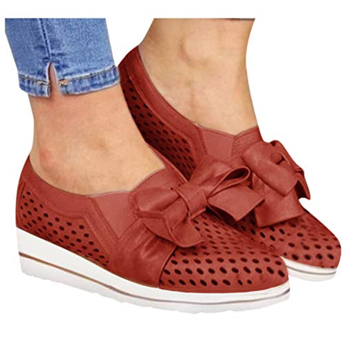 Find Bargain Padaleks Women's Comfortable Walking Shoes Wedges Flat Bottom Bowknot Wild Leisure Brea...