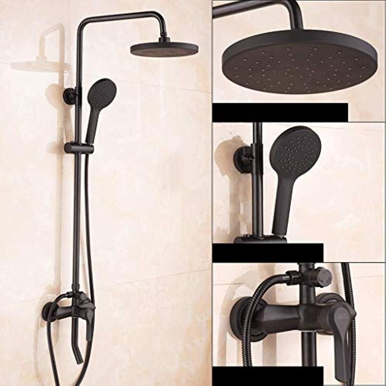 Jokeagliey Duschsystem, europische Multifunktionsdusche, aufgeladener Duschkopf, komplett kupferbraune Dusche, Vintage-Badezimmerdusche,schwarz