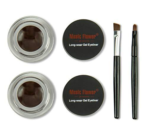 Frola 2 In 1 Long-wear Gel Eyeliner Smudge-proof & Waterproof, 2 Pieces Eye Makeup Brushes Included (Brown+Brown)