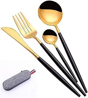 مجموعة ادوات المطبخ وتناول الطعام تتضمن شوكة وملاعق وسكين، ادوات مائدة ستانلس ستيل فضية، مجموعة ادوات طعام مطبخية ذهبية مع...