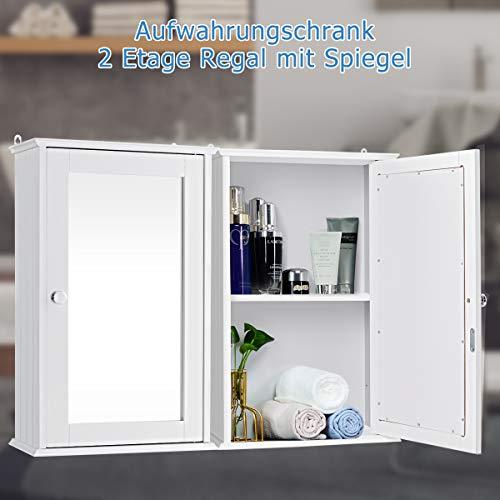 DREAMADE Spiegelschrank Bad, eintüriger Hängeschrank mit Spiegel, Holz Badspiegelschrank mit 2 Ablagen, ideal für Badezimmer, Schlafzimmer und Flur, 34x15x53 cm, weiß 4