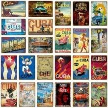 AOXT Metal-Signs Havana Gemälde Club-Decor Nacht-Poster Wand-Art Plakette Retro Vintage Cuba