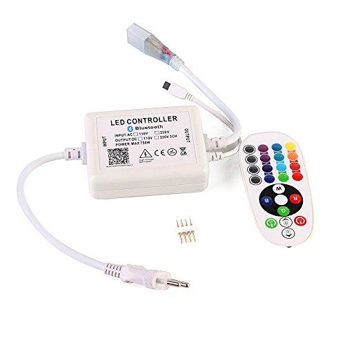 GreenSun LED Lighting Bande lumineuse LED Ruban RGB SMD 5050 avec télécommande Bluetooth 24 touches Étanche IP65 60 LEDs/m pour décoration l'intérieur et l'extérieur