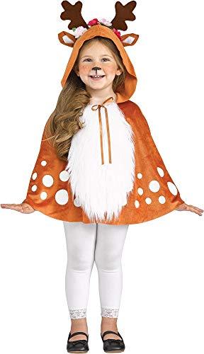shoperama Mädchen REH Umhang mit Kapuze Geweih Ohren Rehkitz Bambi Rentier Hirsch Cape Kinder-Kostüm, Größe:L - 3 bis 4 Jahre