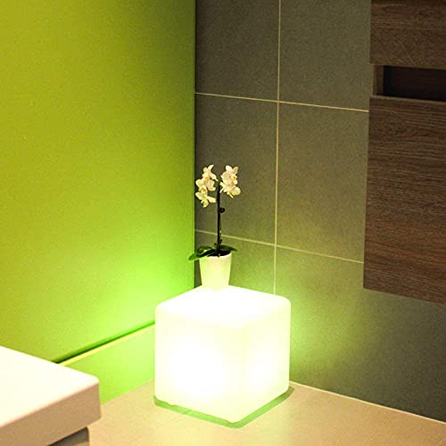 LGOO1 Cubo brillante LED Luz de cabeza de cama con control remoto de colores 16 colores regulables y 4 modos Luces de iluminación brillante Silla LED de plástico PE recargable Taburete luminoso LED in