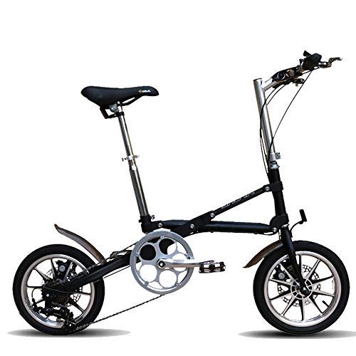 Gyj&mmm Klappbares Single-Speed-Fahrrad, zusammenklappbares 14-Zoll-Kompaktfahrrad für die Stadt, tragbares Single-Speed-Kleinfahrrad für Herren und Damen,Schwarz