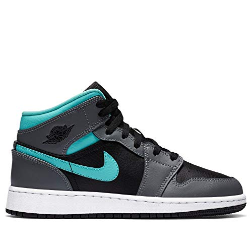 Nike Air Jordan 1 Mid (GS), Zapatillas de básquetbol para Niños, Black Aurora Green Smoke Grey, 35.5 EU